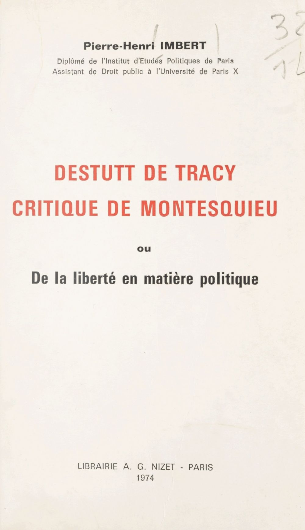 Destutt de Tracy, critique de Montesquieu