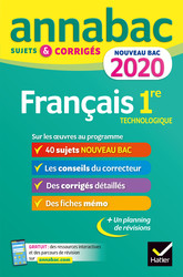 Annales Annabac 2020 Français 1re technologique