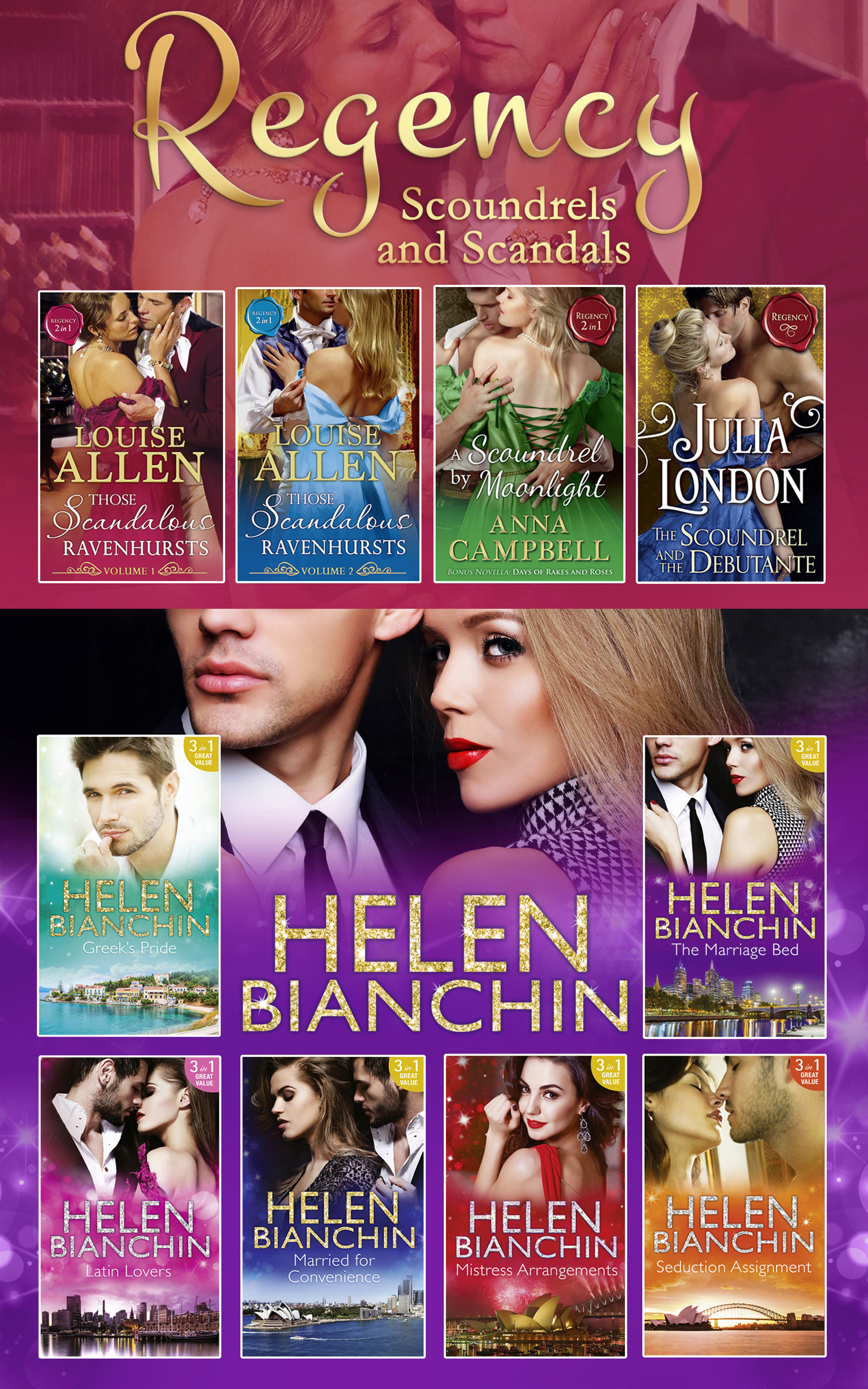 The Helen Bianchin And The Regency Scoundrels And Scandals Collections